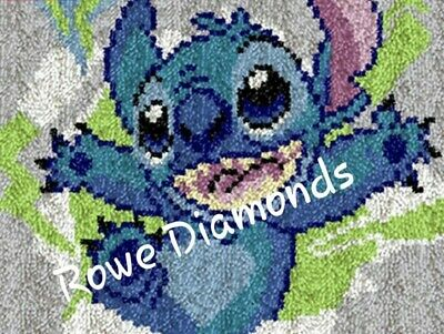 DIY rug Latch Hook Kit Disney's stitch experiment 626 unique gift personalise
