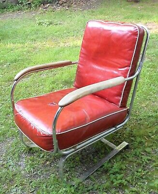 Antique Kem Weber Art Deco Spring Steel Armchair
