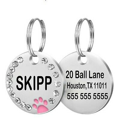 Pmaxx Personalized Dog Tags Paw Rhinestone Pet Cat ID Name Tag Engraved