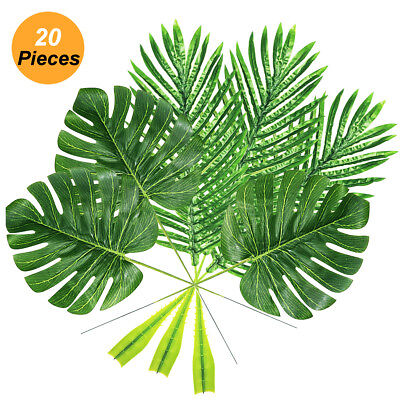 10/20 Packs Artificial Tropical Leaves Plants Fake Palm Faux Leaves Party Decor
