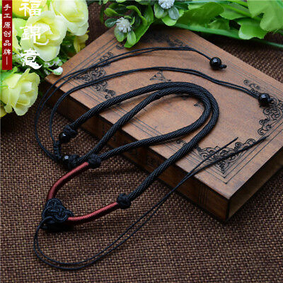 Black Chinese knot hand knitting Circle Braided string cord rope pendant A250
