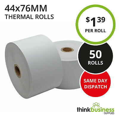 50 x Premium 44x76mm Thermal Paper Rolls for Cash Register Receipts