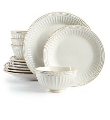 Lenox French Perle Groove White 12-piece Dinnerware Set SERVICE FOR 4