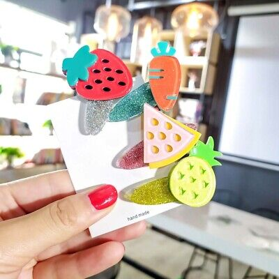 Sweet Girls Kids Hair Clip Fruit Barrettes Handmade Hairpin Bobby Pin Headwear