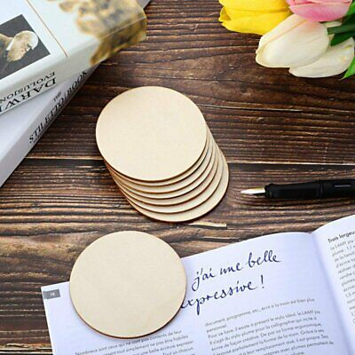 50 PCS DIY Blank Wood Pieces Slice-Round Unfinished Crafts Wooden Discs Circles