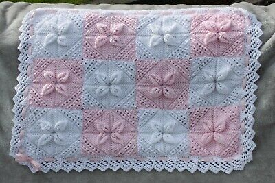 NEW BEAUTIFUL HAND KNITTED LINED PINK BABY BLANKET