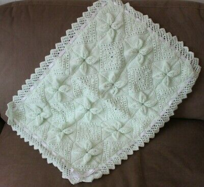 New Beautiful Hand Knitted Lined Mint Green Baby Blanket