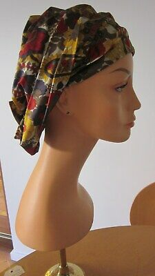 1950,s floral scarf style hat from Emme USA.Fab .Made of silk.