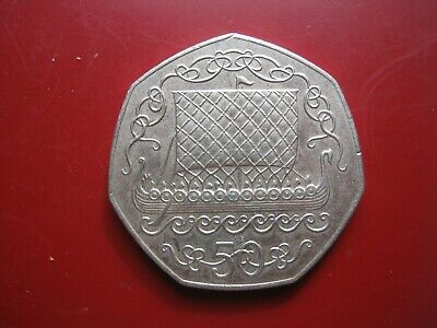 Isle of Man 1980 - Viking Long Ship Boat - 50 Pence Large Size Coin AB Die Mark