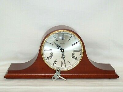 Large Hermle Mahogany Triple 3 Tunes Westminster Chime Napoleon Mantle Clock