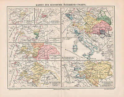 Antique map. HISTORIC MAP. HISTORY OF AUSTRO-HUNGARIAN EMPIRE. c 1905