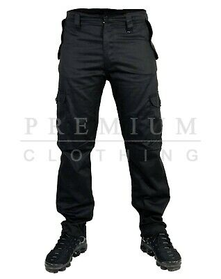 Mens Cargo Extra Heavy Duty Work Trousers Combat Casual Pants Multi Pockets