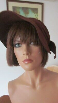 1940,s orig.vintage brown silk hat with fab feather like detail by B and E UK