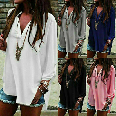 Women Long Sleeve Chiffon T-Shirt Ladies Summer Loose Tops Blouse Plus Size Hot