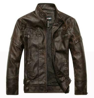 Winter Mens pu Leather Stand Collar Jacket Slim Fit casual Warm Jacket Tops Coat