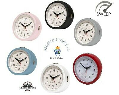 Acctim Orla Non Ticking Round Alarm Clock Sweep Second Hand With Snooze & Light