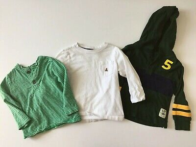 Baby GAP Toddler Boys 2 Years 2T Shirt Lot Green Stripe Hooded White Fall Winter