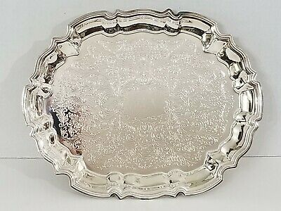 """Vintage 11"""" X 14.5"""" Leonard Silverplate Tray Oval Scalloped Footed With Design"""