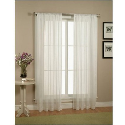 Beautiful Sheer Window Elegance Curtains 57 inch x 84 inch, Set of 2 White