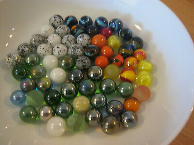 Vintage marbles, mixed types & colors, 64 regular size & a few pee wee marbles