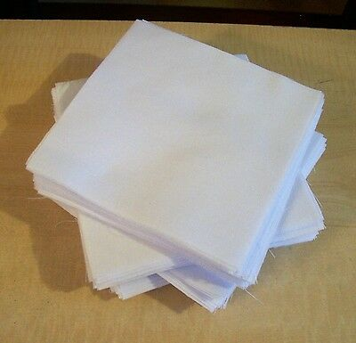 AF0854 Lots 50 CUT to size QUILT SQUARES WHITE QUILTERS COTTON pre washed