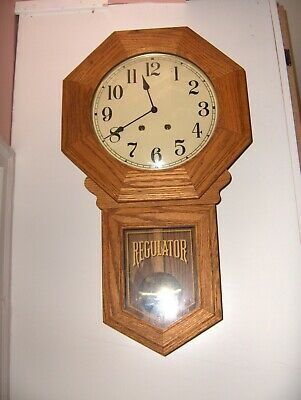 Vintage West Germany Oak Regulator Wall Clock Chime 8610 30-Day Works Great NICE