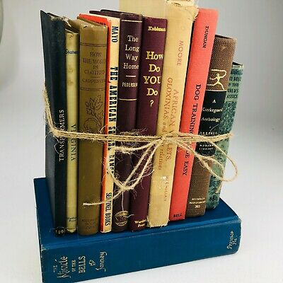 VINTAGE Lot of 11 Cool Old Shabby Retro Antique Books Mixed Colors and Genres 10