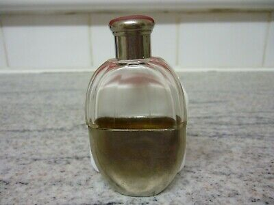 Antique Ladies Silver Plate And Glass Hip Flask Circa 1920's