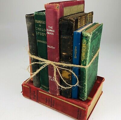 VINTAGE Lot of 8 Cool Old Shabby Retro Antique Books Mixed Colors and Genres 12