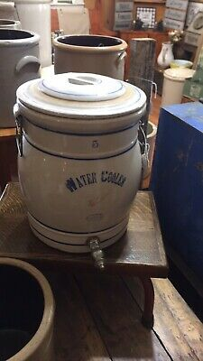 Vintage / Antique RED WING 5 Gallon Water Jug Cooler Crock With Lid & Spigot.