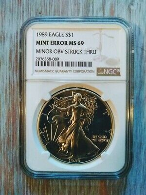 1989 $1 American Silver Eagle Ngc Mint Error Ms69 Minor Obverse Struck Thru