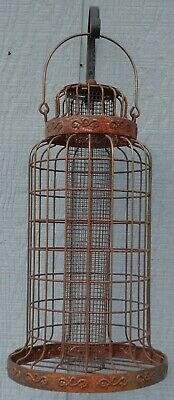 Vintage Antique ? Old Large Rusty Iron Caged Metal Bird Feeder Rustic Farmhouse