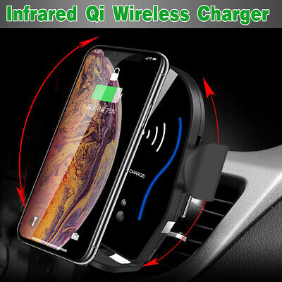 Smart Auto Clamping Wireless Car Charger Phone Infrared Auto-sens Air Vent Mount