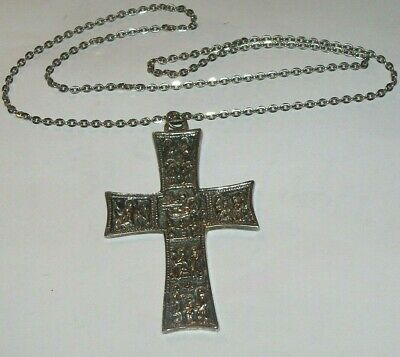 Antique Silver tone story tell Jesus Cross pendant chain necklace