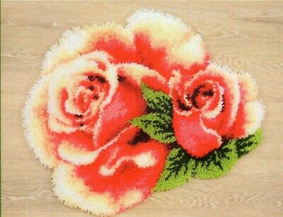 PINK ROSES FLOWER LATCH HOOK RUG KIT from UK Seller, BRAND NEW