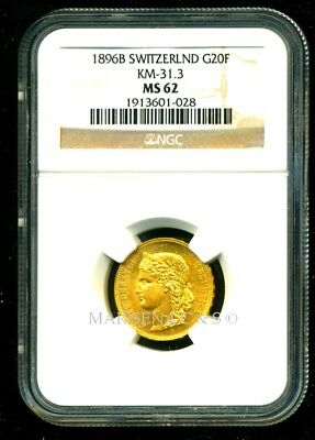 Switzerland 1896 B Gold Coin 20 Francs * Ngc Certified Genuine Ms 62 * Superb