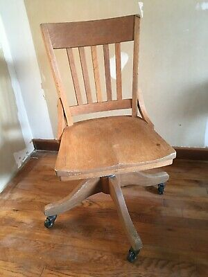 Vintage WOOD  SWIVEL CHAIR