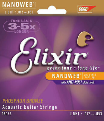 1 set  Elixir 16052 Nanoweb Acoustic Guitar Strings Light 12-53 Phosphor Bronze