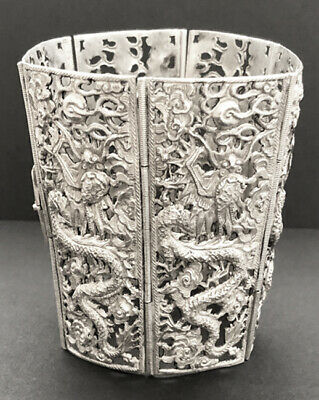 Vintage Early 20th Century Silver Dragon Cuff Bracelet