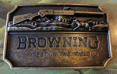 Browning Belt Buckle Rifle Antique Bronze color Deer Country hunting fishing USA