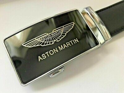 Womens Designer Aston Martin Automatic Real Black Tan Leather Belt For Ladies