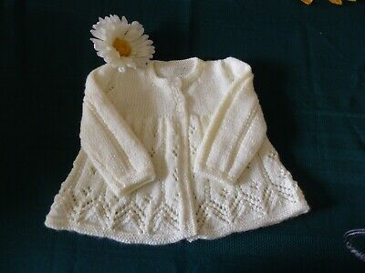 NEW - Hand knitted matinee jacket - white 000