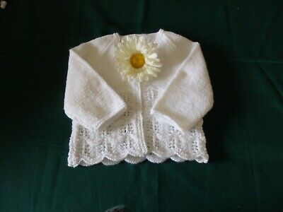 NEW - Hand knitted matinee jacket - white 0000/000