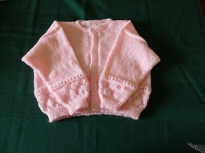 NEW - Hand knitted cardigan - pink - 000/00