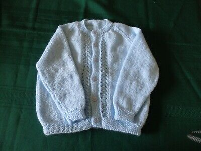 NEW - Hand knitted cardigan - blue - 000/00