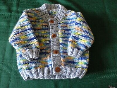 NEW - Hand knitted cardigan - multicoloured (blue basic colour) 0000/000