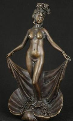 Chinese Old Bronze Collectable Handwork Carved Erogenous Sexy Belle Art Statue
