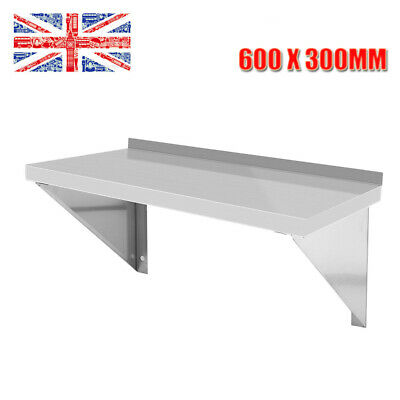 Stainless Steel Wall Shelf Metal Shelving Catering Kitchen Cafe W/ Bracket VC