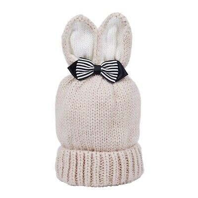 Cute Rabbit Ear Winter Kids Baby Hats Knitted Hemming Skullies Beanies Hat Beige