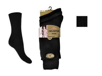 Men's Aler Black Ribbed 100% Cotton 6-11 Socks 6 Pair Pack Gold Style Shoe Sock